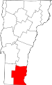 Map of Vermont showing Windham County