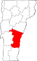Map of Vermont showing Windsor County