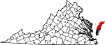 Map of Virginia showing Accomack County
