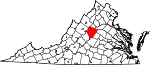 Map of Virginia showing Albemarle County
