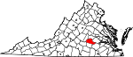 Map of Virginia showing Amelia County