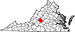 Map of Virginia showing Amherst County