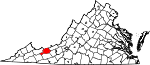 Map of Virginia showing Bland County