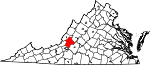 Map of Virginia showing Botetourt County