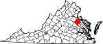 Map of Virginia showing Caroline County
