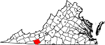 Map of Virginia showing Carroll County