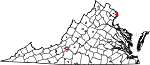 Map of Virginia showing City of Alexandria County