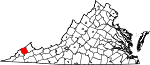 Map of Virginia showing Dickenson County