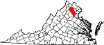 Map of Virginia showing Fauquier County