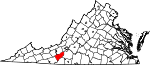 Map of Virginia showing Floyd County