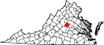 Map of Virginia showing Fluvanna County