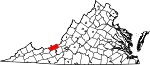 Map of Virginia showing Giles County