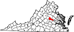 Map of Virginia showing Goochland County