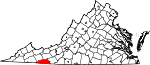 Map of Virginia showing Grayson County