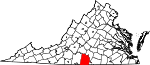 Map of Virginia showing Halifax County