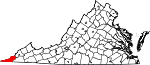 Map of Virginia showing Lee County
