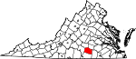 Map of Virginia showing Lunenburg County