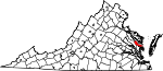 Map of Virginia showing Middlesex County