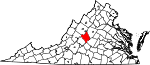 Map of Virginia showing Nelson County