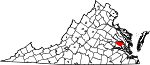 Map of Virginia showing New Kent County