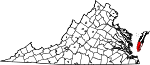 Map of Virginia showing Northampton County