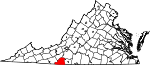 Map of Virginia showing Patrick County