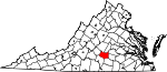 Map of Virginia showing Prince Edward County