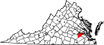 Map of Virginia showing Prince George County