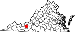 Map of Virginia showing Pulaski County