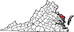 Map of Virginia showing Richmond County