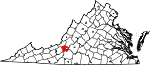 Map of Virginia showing Roanoke County