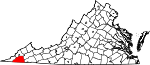 Map of Virginia showing Scott County
