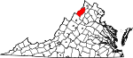 Map of Virginia showing Shenandoah County