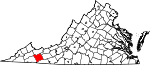 Map of Virginia showing Smyth County