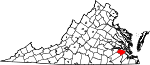 Map of Virginia showing Surry County