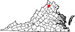 Map of Virginia showing Warren County