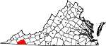 Map of Virginia showing Washington County