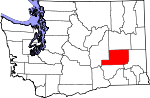 Map of Washington showing Adams County