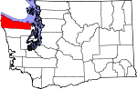 Map of Washington showing Clallam County