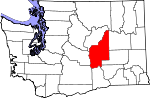 Map of Washington showing Grant County