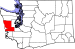 Map of Washington showing Grays Harbor County