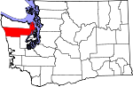 Map of Washington showing Jefferson County