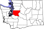 Map of Washington showing King County