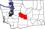 Map of Washington showing Kittitas County