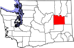 Map of Washington showing Lincoln County