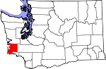 Map of Washington showing Pacific County