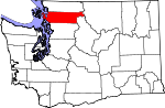 Map of Washington showing Skagit County