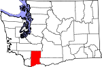 Map of Washington showing Skamania County