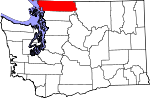 Map of Washington showing Whatcom County