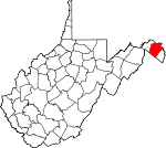 Map of West Virginia showing Berkeley County